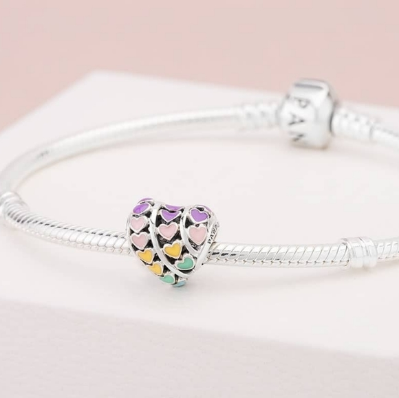 Brand New Pandora Rainbow Hearts Charm